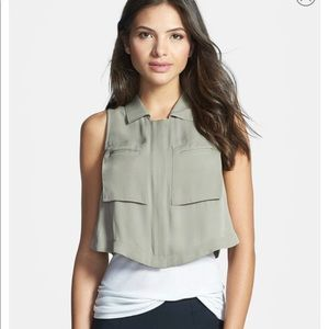 Theory Gemia silk cropped pocket blouse